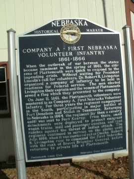 Marker commemorating first voluntary infantry in Civil War.