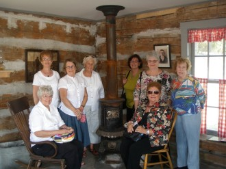 Omaha Lady Crook Questors visiting the Cook Log Cabin