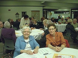 Charter member FloraBelle Wehrbein and her son daughter Nancy at the 2014 annual meeting.